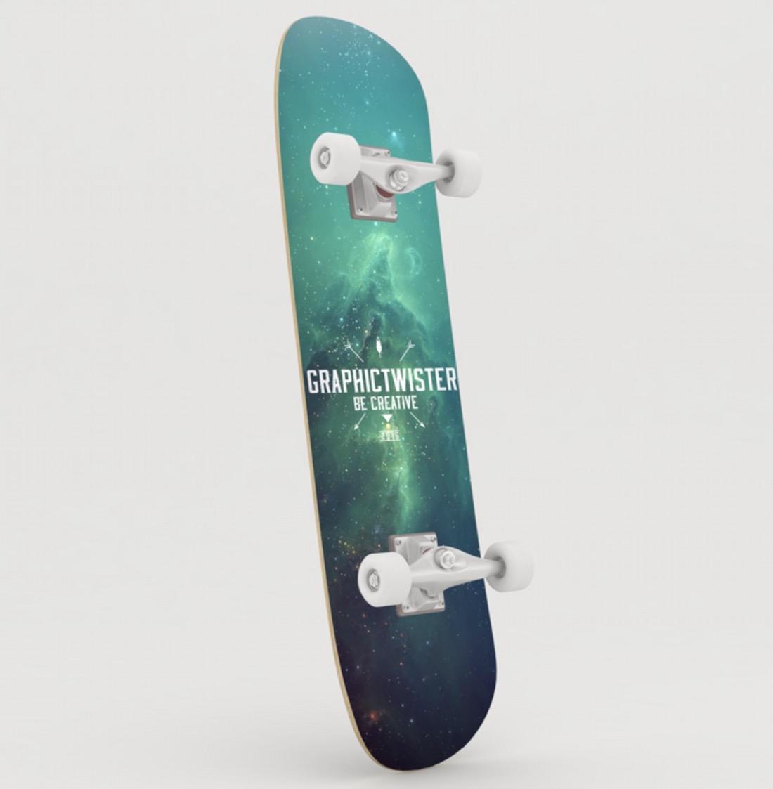 free customizable awesome skateboard mockup