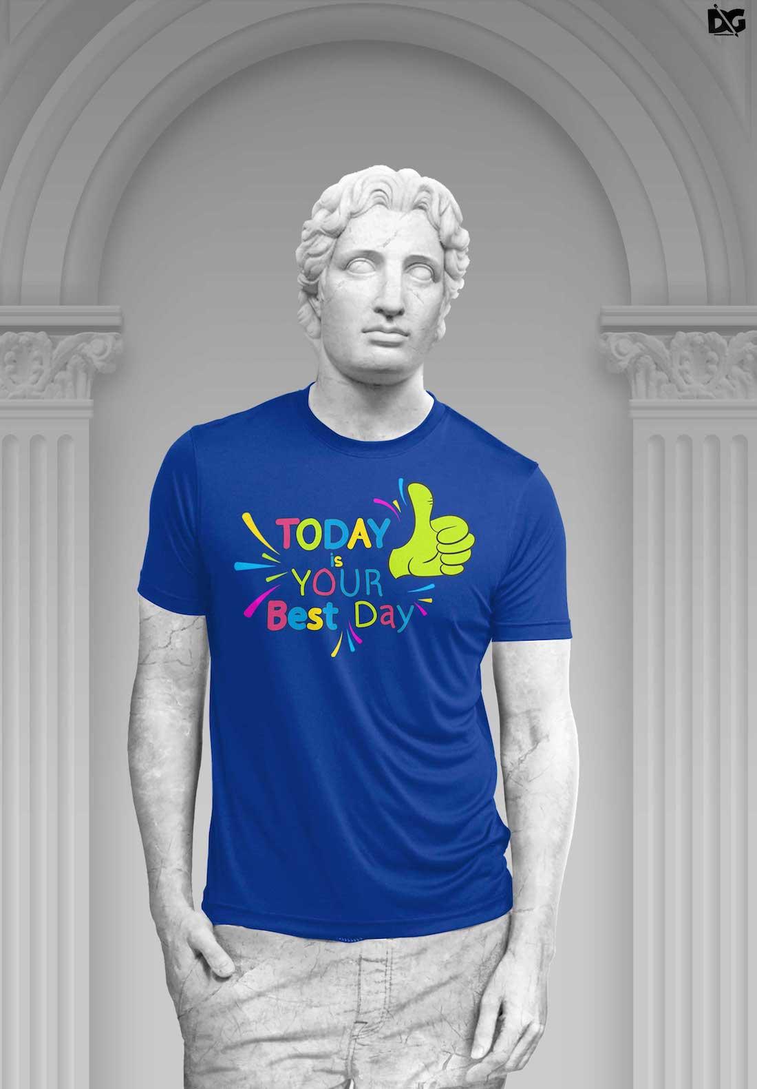 free download blue t-shirt design psd mockup
