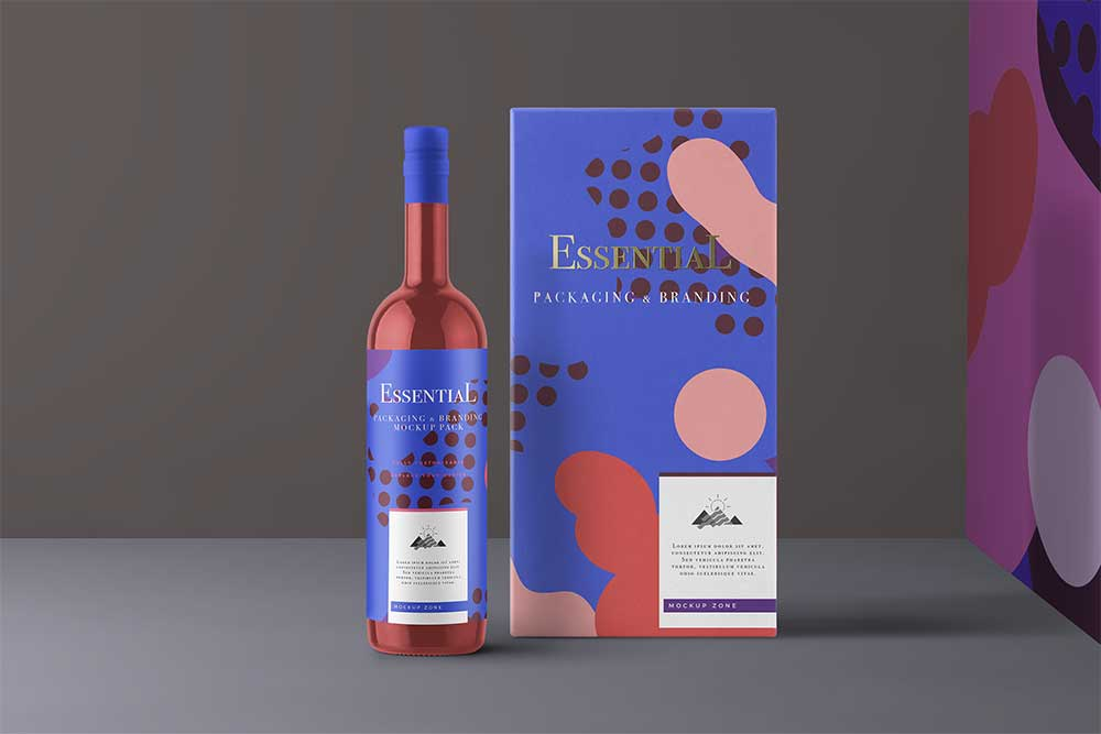 free download wine packaging mockup