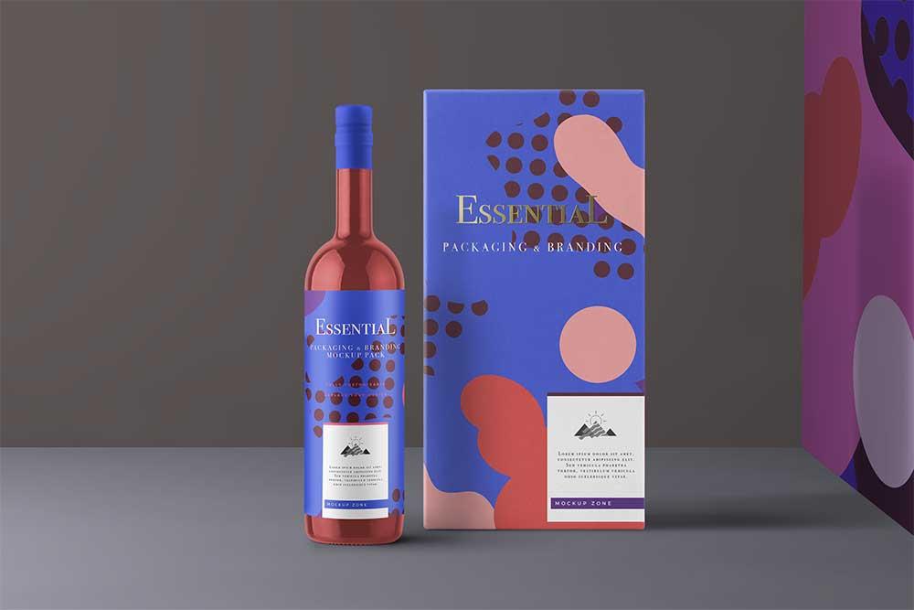 free download wine packaging mockup