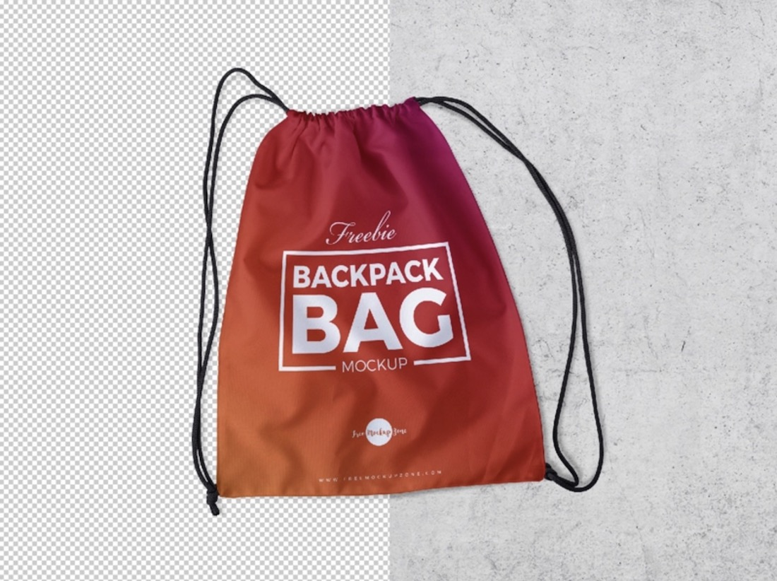 free drawstring backpack psd mockup