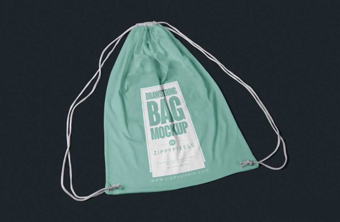 free drawstring bag psd mockup