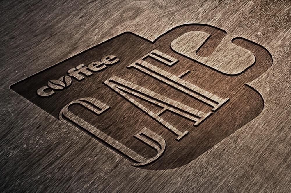 free engraved wooden logo mockup