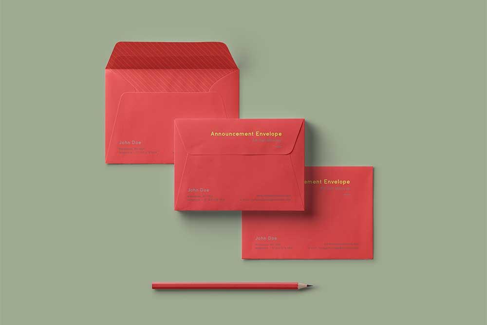 free envelope set mockup