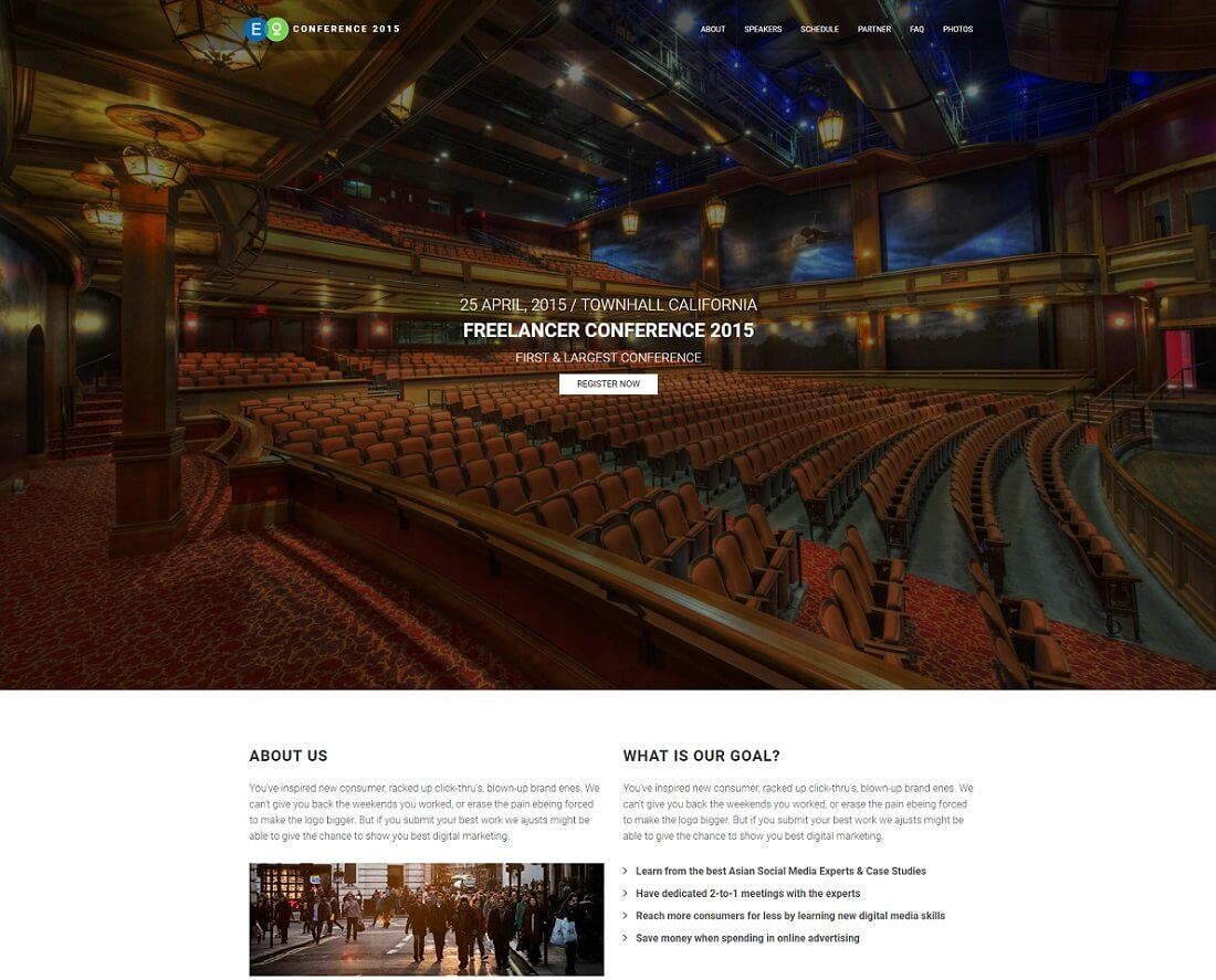 17 Most Promising Free Event Website Templates 2018