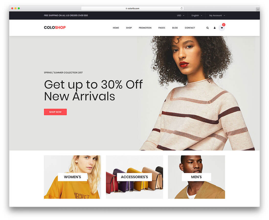 coloshop free fashion website template