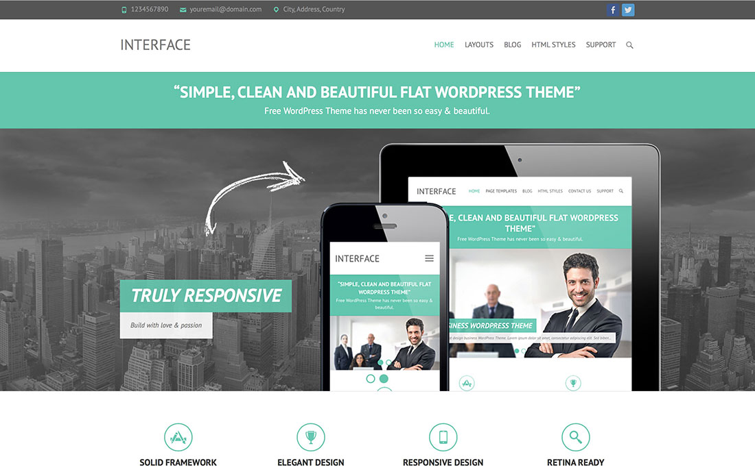 20 Free Responsive Flat Design Wordpress Themes 2017
