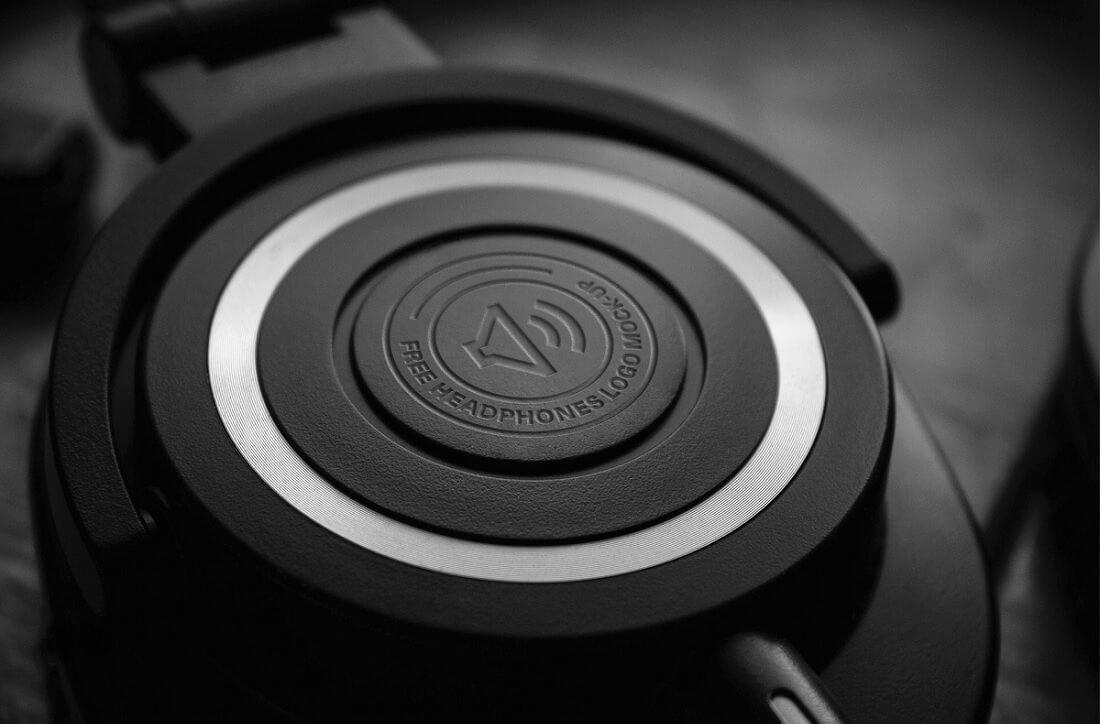 free headphones logo mockup