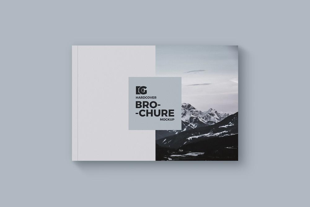 free horizontal hardcover brochure mockup psd