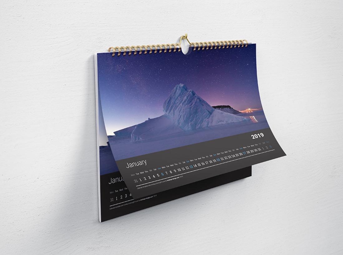 free horizontal wall calendar psd mockup