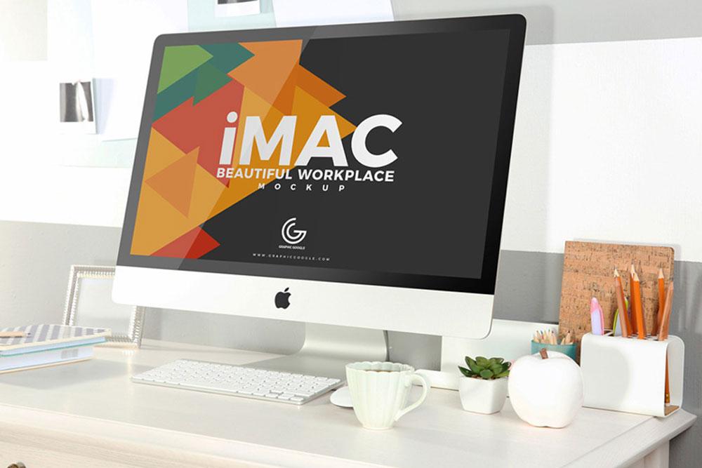 free imac mockup on a desk