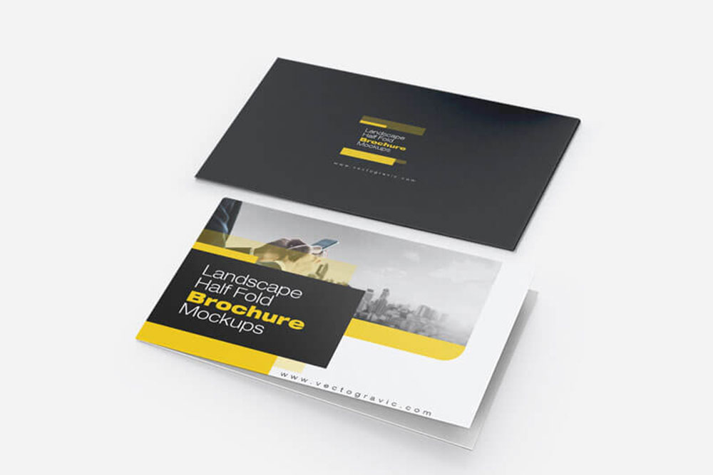 free landscape half fold brochure mockup