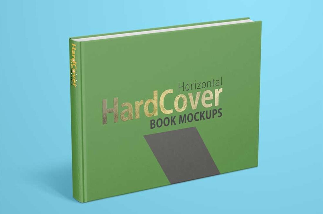 free landscape hard cover book mockup