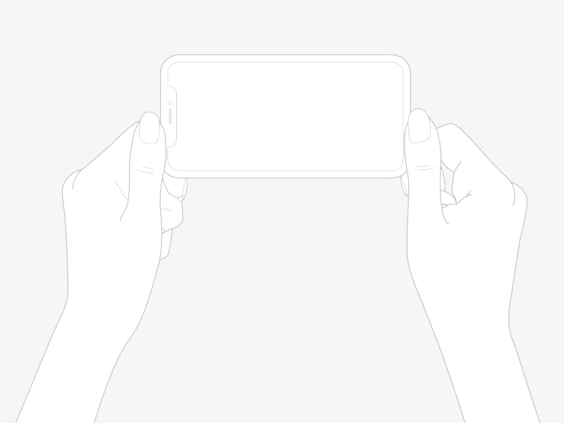 free line draw iphone x plus hands mockup