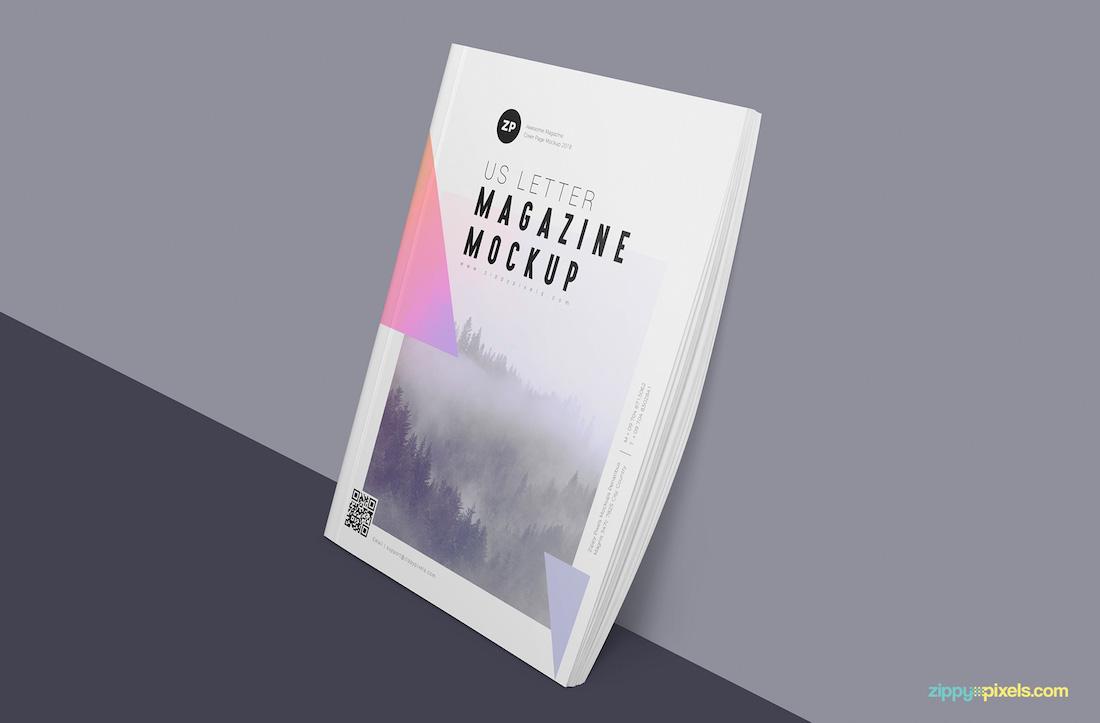 free magazine mockup showing stack