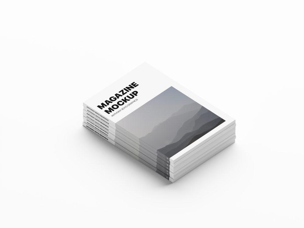 free magazine stack mockup psd