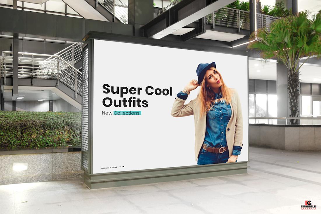 free mall indoor billboard digital ad mockup psd for advertisement