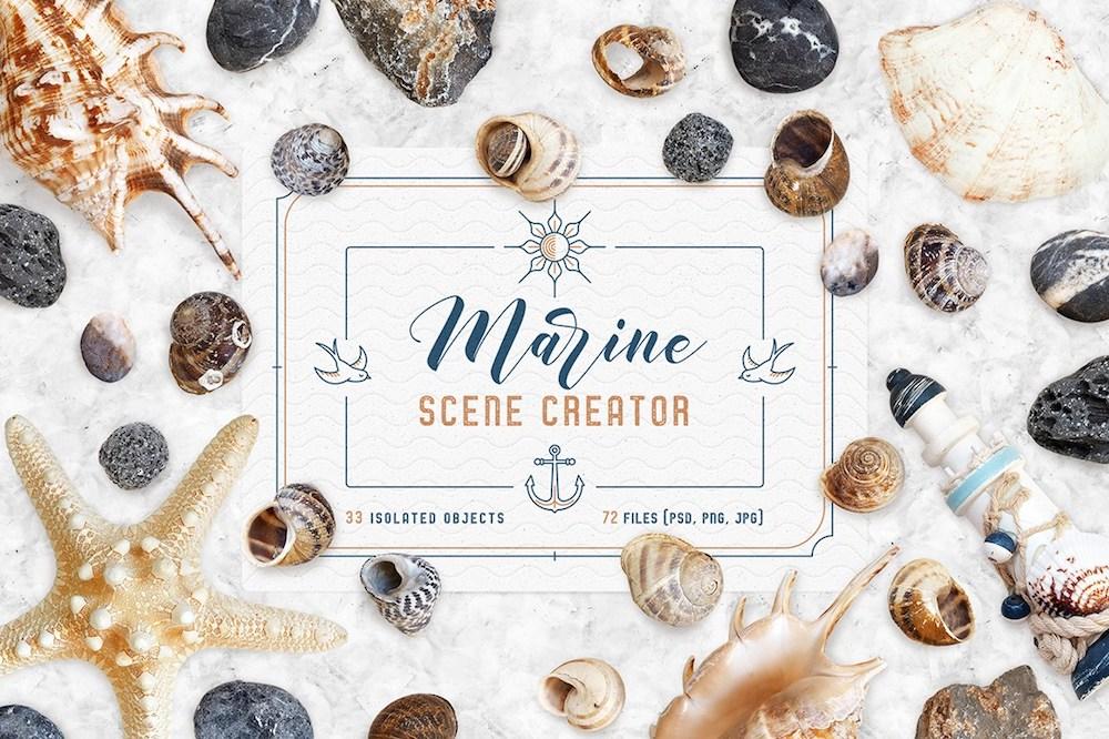 free marine scene flyer design mockup psd