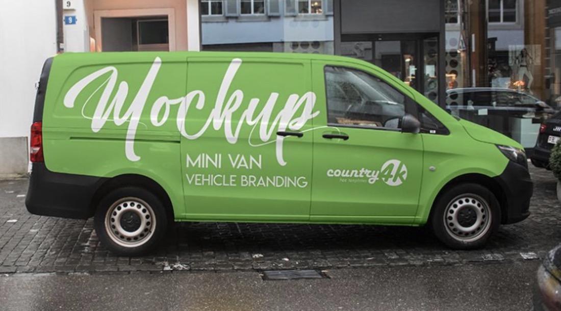 free mini van advertising mockup