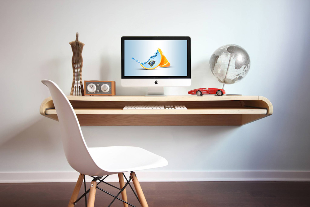 free modern floating desk mockup