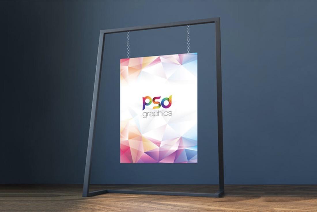 free modern hanging canvas mockup