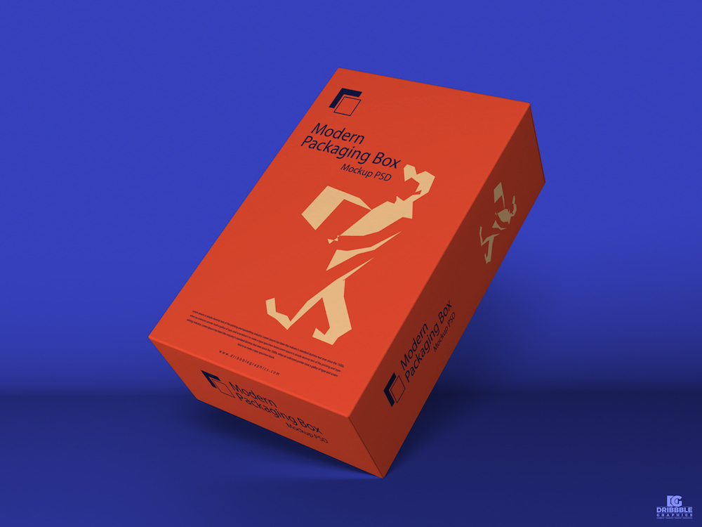 free modern packaging box mockup psd