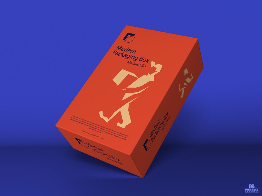 free modern packaging box mockup psd