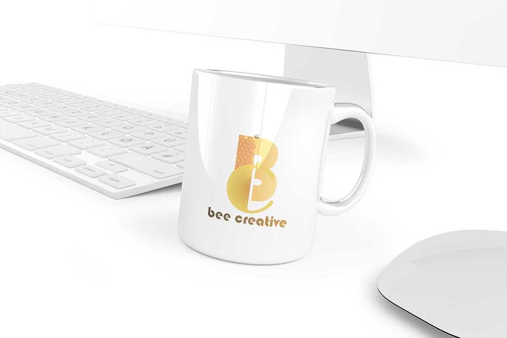 free mug psd mockup imac setup