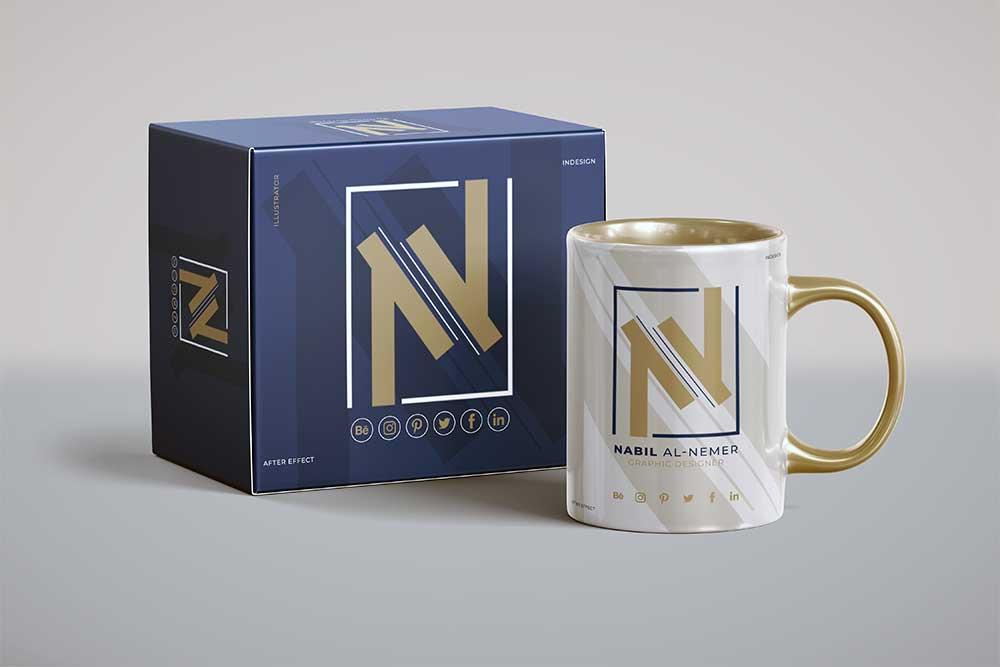 free mug psd mockup with box
