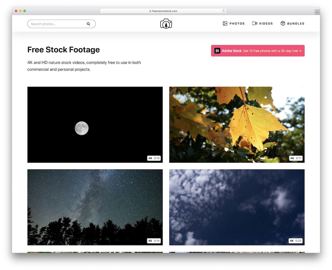 free nature stock video site
