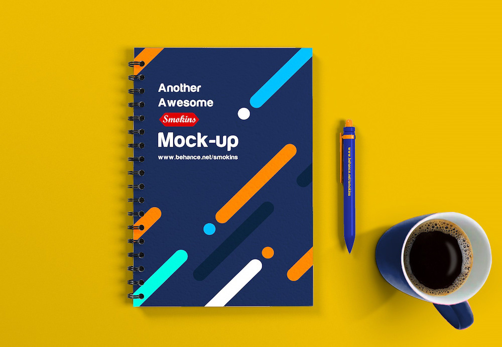 free notebook mock up high res
