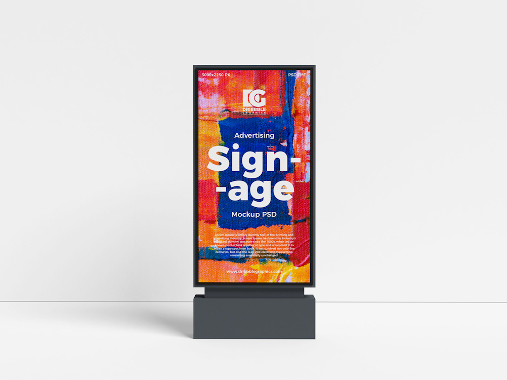 free outdoor advertising signage psd mockup