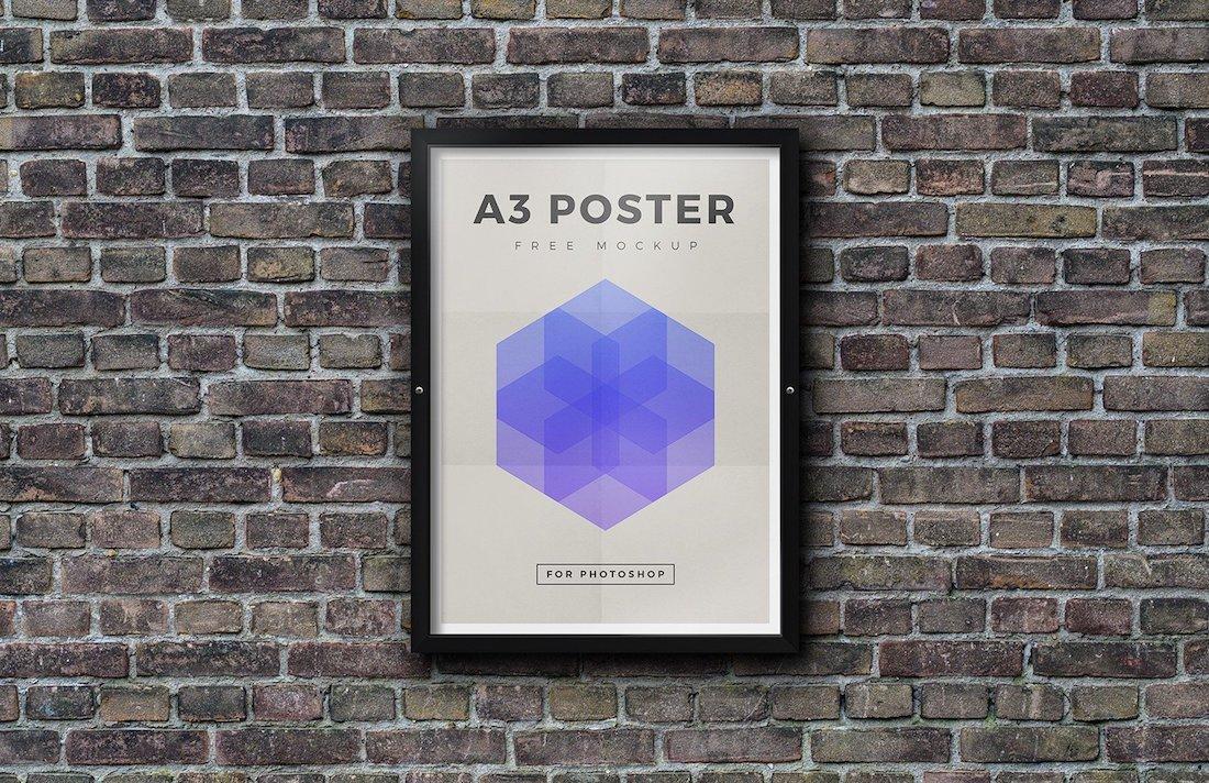 free outdoor framed poster mockup psd