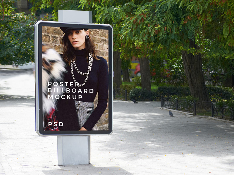 free outdoor park poster billboard mockup for advertisement