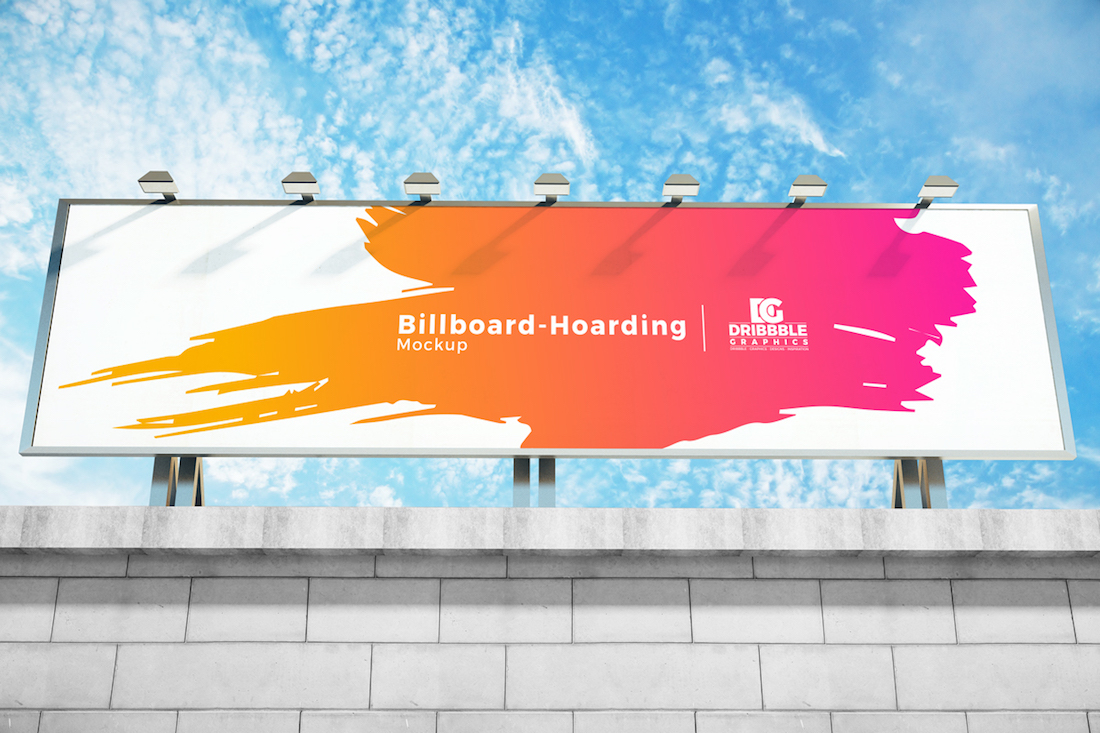 free outside building top billboard hoarding mockup psd