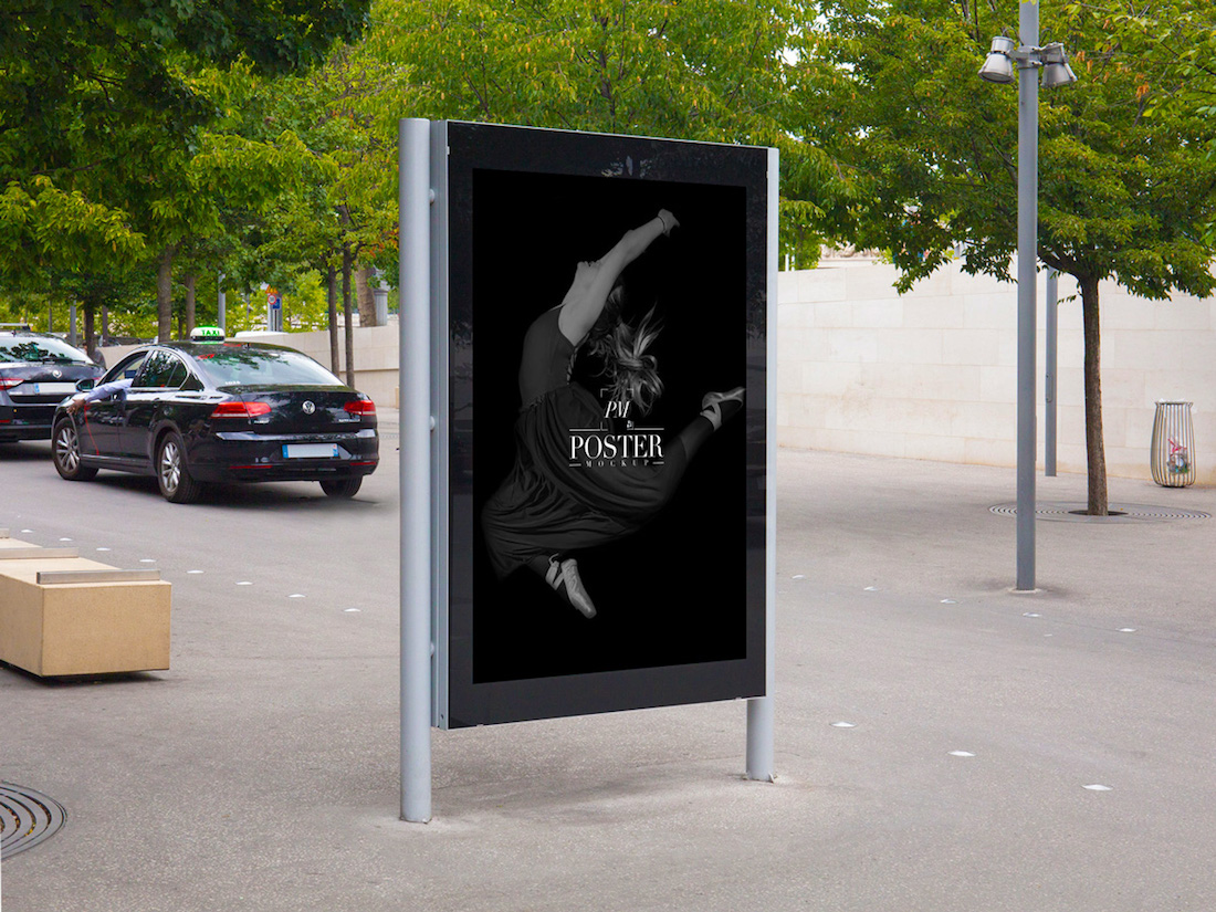 free outside theatre billboard-poster mockup for advertisement