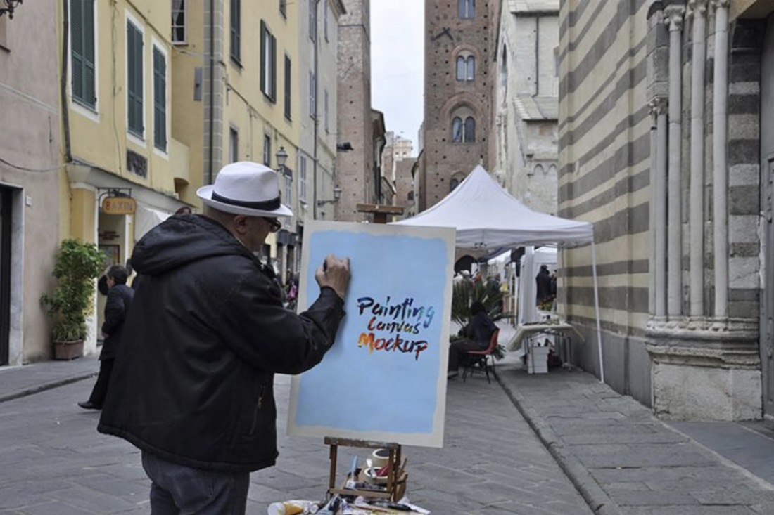 free painting canvas plus painter mockup