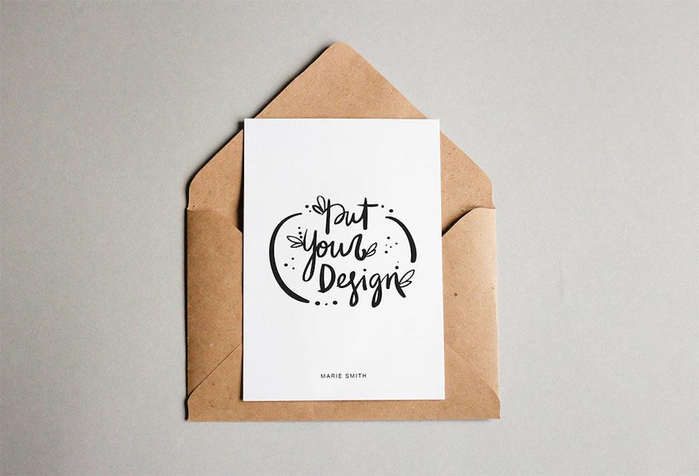 free postcard template mockup