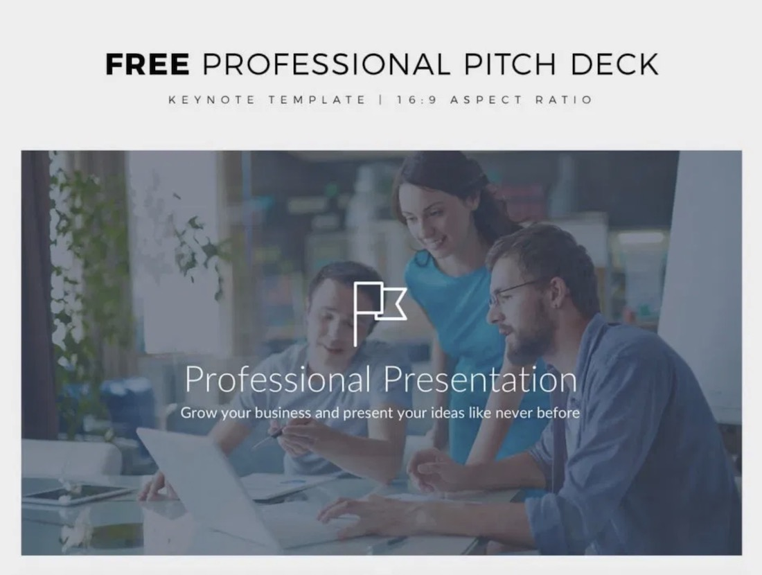 free professional pitch deck keynote template