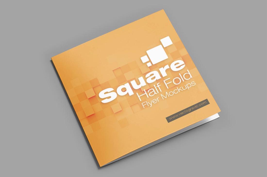 free psd square bifold brochure mockup