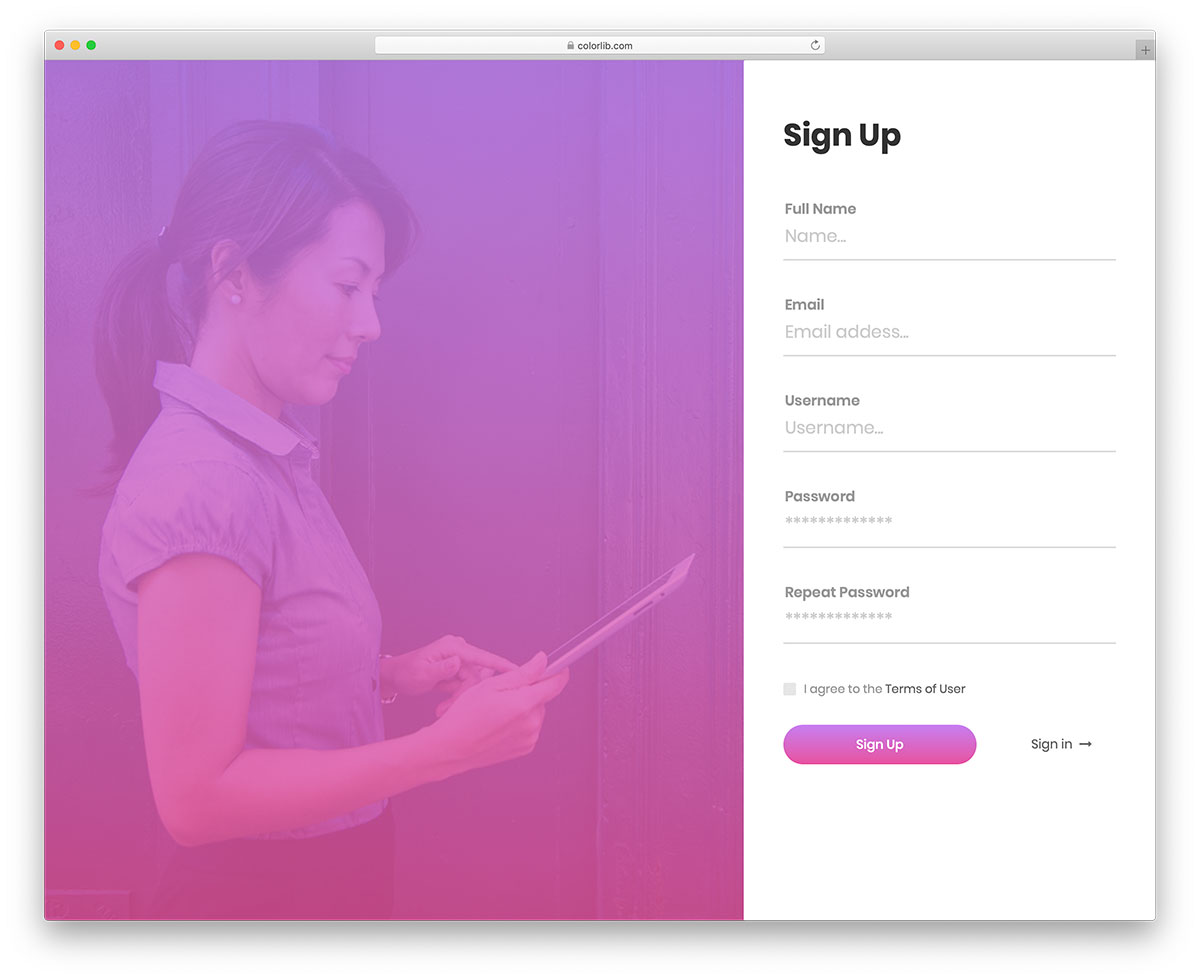 50 Best Free Bootstrap Registration Forms For All Sites 2018 - Colorlib
