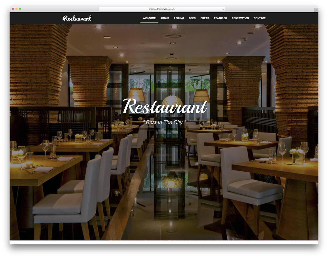 free responsive restaurant website template