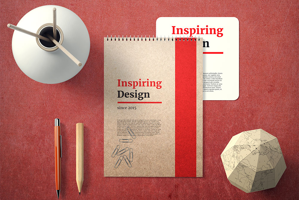 free spiral notebook mockup psd