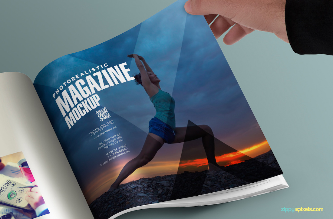 free square psd magazine mock up