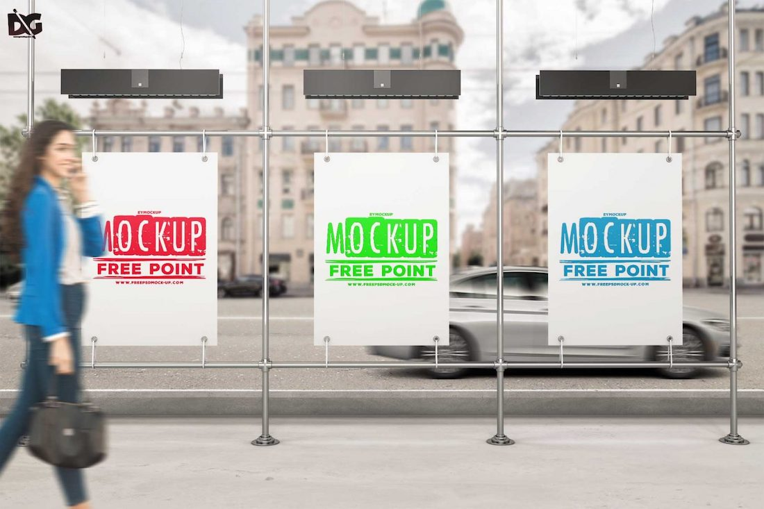 free three billboard psd bus stand mockup