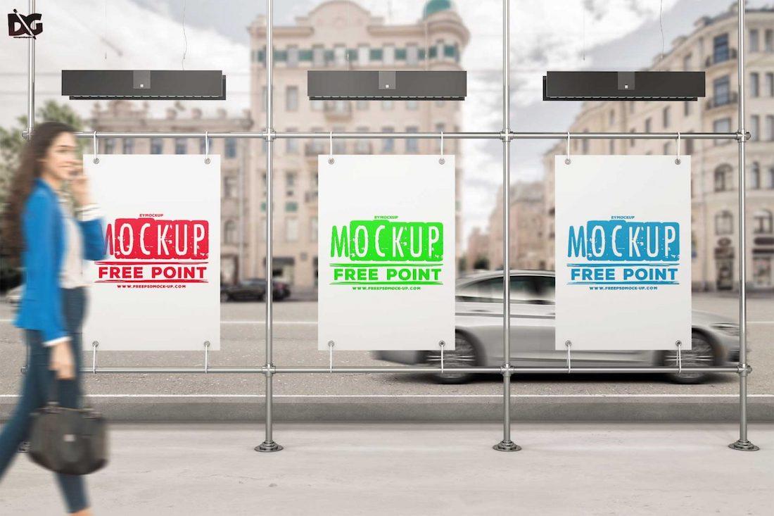 free three billboard psd bus stand mockup