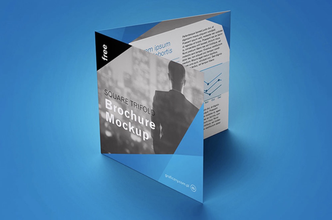free trifold square brochure mockup