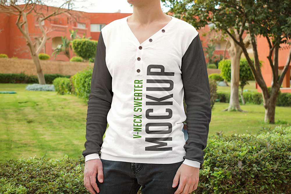 free v-neck sweater mockup