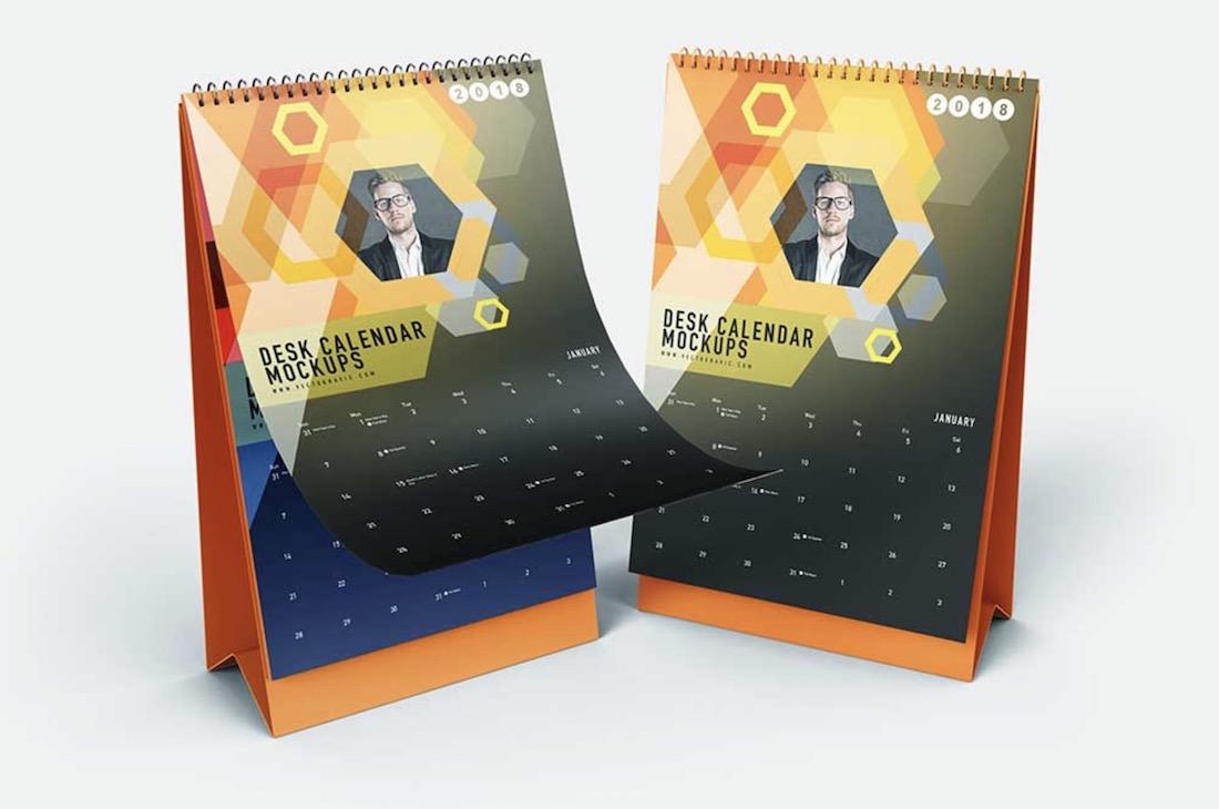 free vertical desk calendar mockup