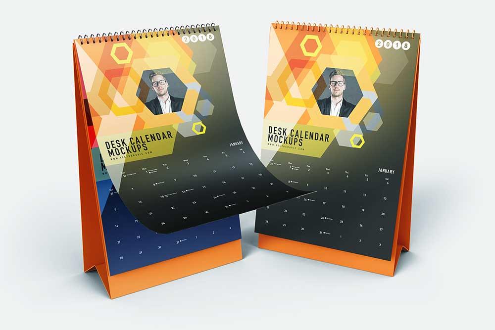 free vertical desk spiral calendar mockup